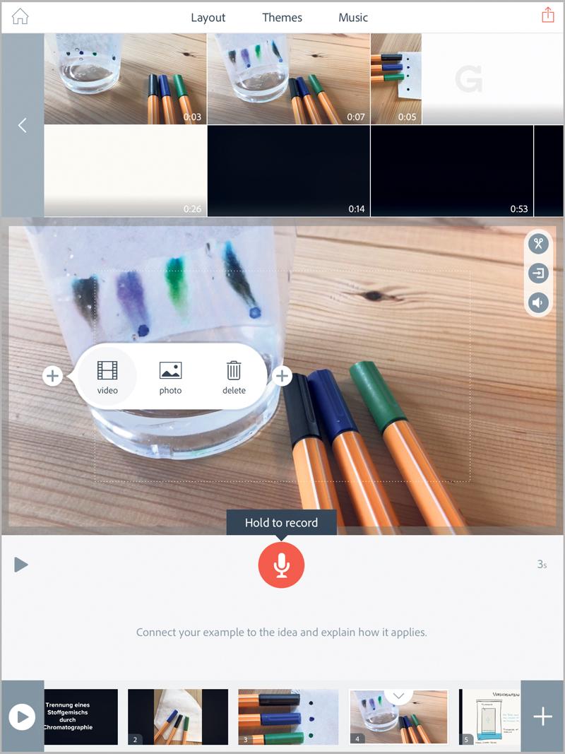 Startbildschirm von Adobe Spark Video