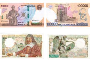 Mathematik(er) auf Banknoten, Voder- und Rückseite