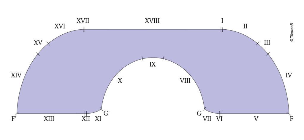 Gervers Sofa mit 18 Kurvensektionen